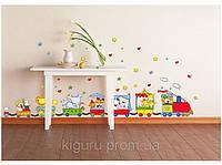 Цветные наклейки на стену паровозик декор для детской комнаты