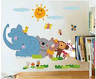 Цветные наклейки на стену звери декор для детской комнаты