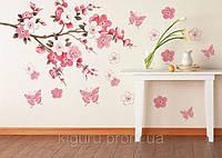 Наклейка виниловая на стену сакура цветы розовая ветка
