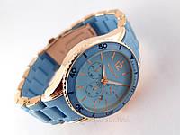 Часы Michael Kors голубой браслет из софт тач пластика