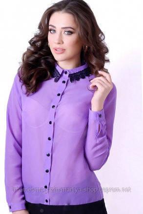 Шифоновая женская блуза на пуговках с длинным рукавом полубатал
