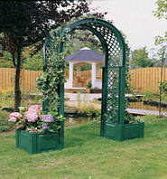 Садовая арка с кашпо зеленая