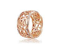 Кольцо «Декоративный цветок» с покрытием золотом 750 пробы, купить