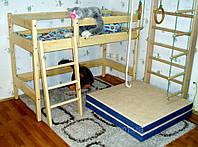 Двухъярусная кровать-чердак  деревянная высота - 122см