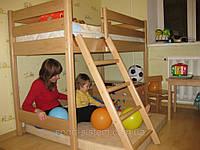 Добротная кровать чердак детская высотой 122см Бук