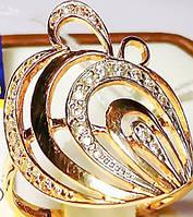 Золотое кольцо с фианитами из красного золота