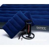 Надувной матрас Intex 68765 с насосом и подушками 152х203,  двуспальный матрас