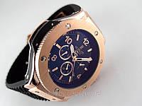Мужские часы HUBLOT - Big Bang механические с автозаводом, каучуковый черный ремешок, цвет золото
