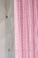 Шторы-нити кисея Дождь №5 (розовый)