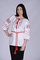 """Вишиванка українським народним орнаментом """"Богуслава"""" Сірий льон, білий."""