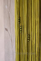 Шторы-нити кисея Лапша с бусами №19 (оливковый)