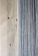 Шторы-нити серые с серебристым люрексом №150