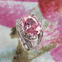 Кольцо покрытое  платиной с цирконами под розовый топаз (арт.154)