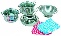 Набор кастрюль из нержавеющей стали, детская игрушечная посуда. (ТМ Bino, 83392)