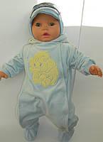 Комбинезон детский, весенний, для мальчика, велюр с трикотажной подкладкой, рост 62 см. Производитель Украина