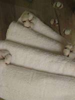 """Махровое полотенце 100Х150 """"САУНА"""" Белое 400 гр./м2"""