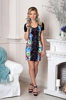 Короткое женское платье в цветочный принт р42
