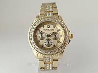 Часы женские Michael Kors в стиле Rolex, золотистый циферблат