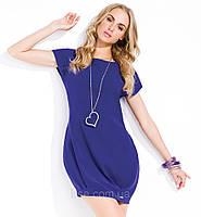 Летнее женское платье-баллон синего цвета с коротким рукавом. Модель Noa Zaps.