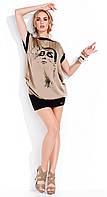Женская летняя туника цвета капучино с принтом. Модель Carmen Zaps.