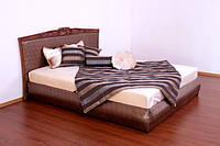 """Деревянная кровать двуспальная """"Карина"""" с отделкой"""