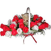 Букет из конфет Мишка в розах