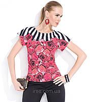 Блуза Iris Zaps с крупными цветами и полоской, короткий рукав, коллекция Zaps весна-лето 2014