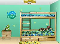 Детская двухъярусная кровать с выдвижными ящиками Ирель