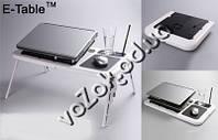 Подставка столик для ноутбука с охлаждением 2 USB кулерами E-Table LD09