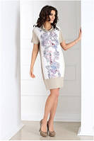 Платье женское с коротким рукавом бежевое с узором Top Bis EBBI до колена