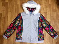 Куртка из плащевки,отделка платок с капюшоном на синтепоне