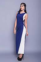 Двухцветное длинное в пол коктейльное платье, греческий стиль, размер 42