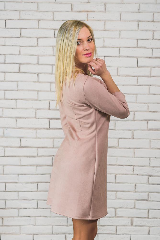 Платье розовое замшевое
