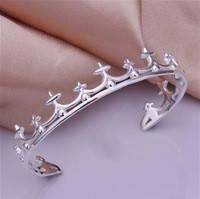"""Стильный женский браслет """"Корона""""  (покрытие серебро 925)"""
