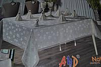 """Бамбуковая скатерть AZD """"Natalia"""" на 8 персон с кольцами 160х220см. Турция pi-01"""