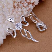 """Изящный женский кулон """"крест с кристаллом"""" (покрытие серебро 925)"""