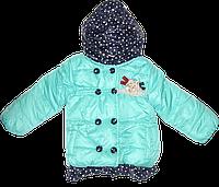 Детская стеганая куртка на пуговицах с капюшоном, наполнение - синтепон, Китай, р. 86
