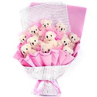 Букет из мягких игрушек Мишки в розовом конверте 11