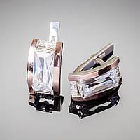 Серебряные серьги с крупным цирконием