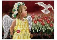 """Схема для вышивки бисером """"Ангелочок в тюльпанах""""."""