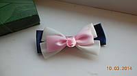 Бант для волос, заколка-бант hand-made, детские банты на голову (розово-бело-синий )