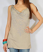 Стильная бежевая блуза-туника трикотажная с вышивкой, 44-48 р-ры