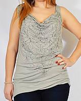 Стильная серая блуза-туника трикотажная с вышивкой, 44,48 р-ры