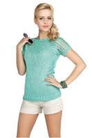 Блузка женская вязаная тонкая Mikos 0530 (свитер тонкий с коротким рукавом)