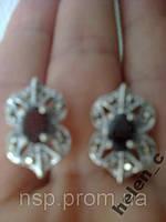 Серьги серебро 925 проба с рубинами