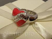 """Кольцо GUESS """" Сердце"""" (красное) с устойчивым золотым покрытием и оригинальными стразами Swarovski."""