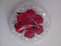 """Набор """" Розы с листочками"""" 7 шт. красные d25 (код 03014)"""