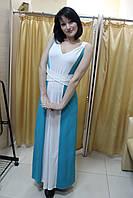 Двухцветное длинное в пол коктейльное платье, греческий стиль размер 42-48