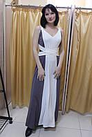 Двухцветное длинное в пол коктейльное платье, греческий стиль, размер 42-48