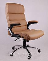 Офисное кожаное кресло Deko раскладное кофе с молоком